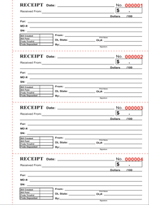 Carbonless Multi Receipt Books Printing