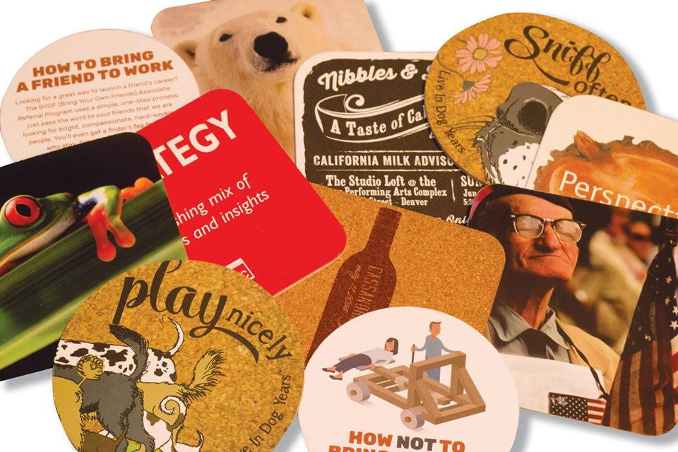 Square and Rounded Pulp Board and Cork Coasters Printing