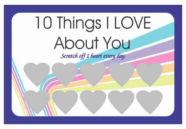 10 Things I love About You Scratch Off Cards