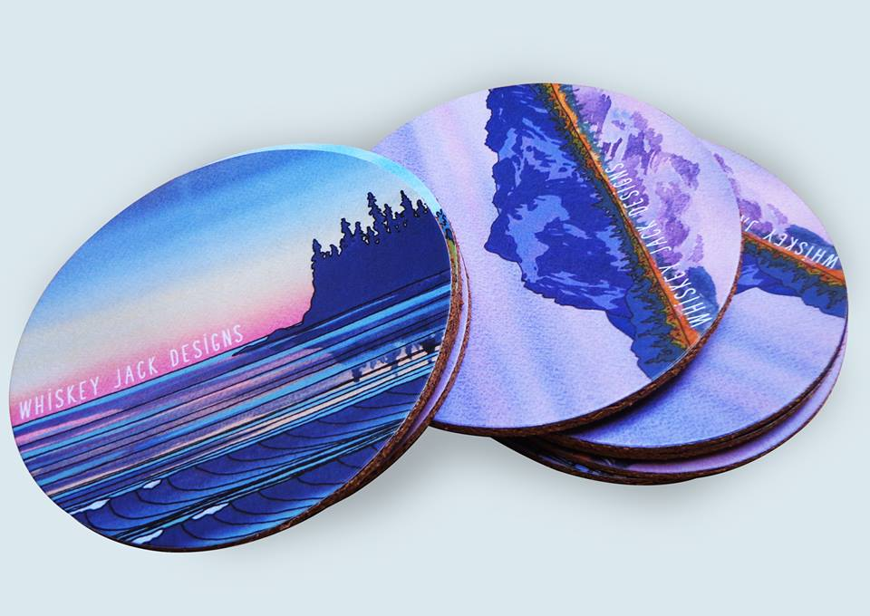 Get full color coasters printed pasted on cork backing